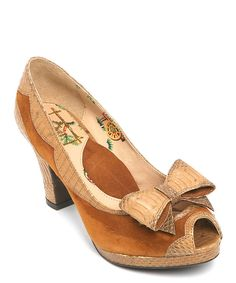 Look at this Miss L Fire Tan Bow Betsy Leather Peep-Toe Pump on #zulily today!