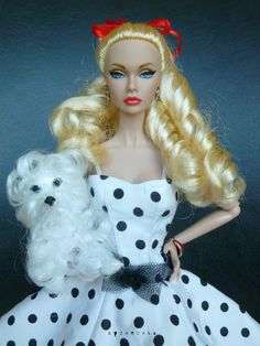 Spring Song Poppy Parker | dress & dog by me | hair relaxed; irises and lips repainted