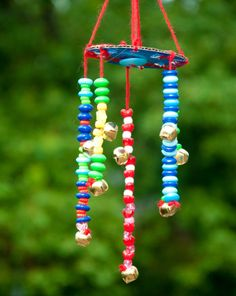 This beaded wind chime is fun to make and it gets kids experimenting with patterns, a key kindergarten math skill.