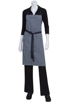 Urban Chic Portland Denim Bib Apron.  $29.95 from ChefsEmporium.net (http://www.chefsemporium.net/denim-bib-apron.html).  We can embroider a name or your restaurant logo on this apron.