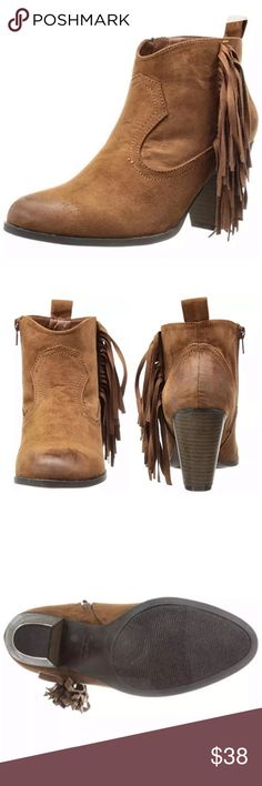 Listing! Cognac Fringed Ankle Bootie! NEW! Faux suede. Distressed styling. So adorable! NIB! Shoes Ankle Boots & Booties