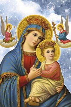 Dominus vobiscum, Et cum spiritu tuo.: Our Lady of Perpetual Succour Religious Pictures, Religious Icons, Religious Art, Jesus And Mary Pictures, Mary And Jesus, Christian Artwork, Christian Images, Blessed Mother Mary, Blessed Virgin Mary