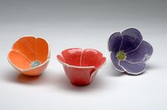 Hand Built Pottery Flower Bowls. Erin Moran Designs.