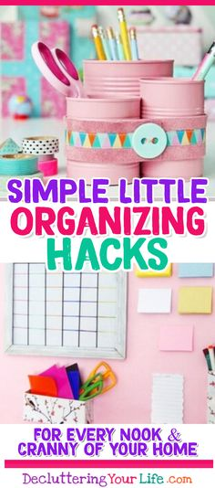 Organization Ideas for the Home - Simple Little Organizing DIY ideas, tips and hacks for every room in your home.