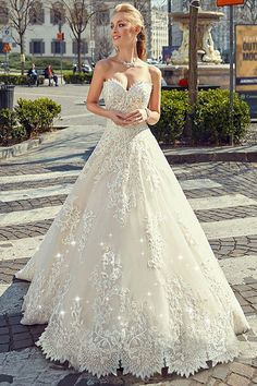 Charming Tulle Sweetheart Neckline Natural Waistline A-line Wedding Dress With Lace Appliques & Beadings #weddingdress