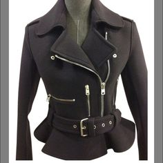 McQ by Alexander McQueen Jacket McQ by Alexander McQueen peplum Moto jacket. Navy wool with edgy zipper details.  Great tailored fit  NWT, never worn! McQ Alexander McQueen Jackets & Coats Pea Coats