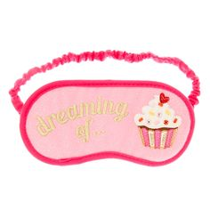 <P>Dreaming of cupcakes, sprinkles, ice cream, chocolate and all things sweet is what we will be doing when we go to sleep! This super cute sleeping mask is perfect for any girly girl with a bit of a sweet tooth. This eye mask has been designed with a cool pink glitter finish and a fun dreaming of cup cake embroidery with beaded detailing. </P><UL><LI>Sleeping mask <LI>Dreaming of cupcake design <LI&...