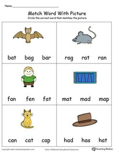 **FREE** Match Word with Picture: AT Words in Color Worksheet.Topics: Word Families, Reading, and Phonics. Learning English For Kids, English Lessons For Kids, Kids Learning, Esl Lessons, English Worksheets For Kindergarten, Phonics Worksheets, Kindergarten Phonics, Phonics Reading, Reading Comprehension