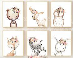 Woodland Nursery Girl, Baby Girl Nursery Decor, Boho Nursery, Nursery Themes, Nursery Prints, Nursery Art, Baby Deer Nursery, Girls Bedroom, Bedroom Wall
