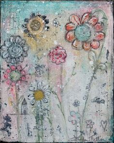 Painting Mixed Media Flowers by GlitterNGrungeStudio on Etsy
