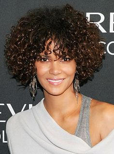 Halle Berry new do: curly bob and bangs