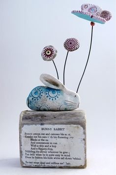 Bunny Rabbit by Shirley Vauvelle in Sculpture Archive, Sculpture using Earthenware driftwood and vintage text. Fimo Clay, Polymer Clay Projects, Ceramic Clay, Clay Crafts, Ceramic Pottery, Pottery Art, Pottery Ideas, Rabbit Sculpture, Metal Figurines