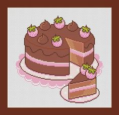 Chocolate Cake Counted Cross Stitch Pattern by InstantCrossStitch