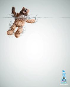 This is a really cute ad. A rough and ferocious bear is turning into a soft and cuddly teddy bear as it's submerges in the water. The contrast of rough and soft is successful for a fabric softener. You cannot help but laugh at the fierce bear being sensitized.