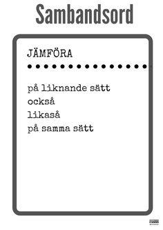 Konsten att skriva referat med ämnesrelaterat språk - Annika Sjödahl School Art Projects, Art School, Linking Words, Learn Swedish, Swedish Language, Teaching Materials, English Words, Teaching Reading, Study Tips