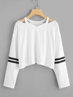 Cut Out Neck Varsity-Striped Tee Cut Out Neck Varsity-Striped TeeFor . Read more The post Cut Out Neck Varsity-Striped Tee appeared first on How To Be Trendy. Girls Fashion Clothes, Teen Fashion Outfits, Outfits For Teens, Girl Outfits, Tomboy Outfits, Teen Clothing, Cute Comfy Outfits, Pretty Outfits, Stylish Outfits