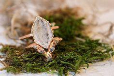 Herkimer Diamond and Raw Diamond Triangle Alternative Engagement Ring Set