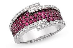 1 3/8 Carat Ruby and Diamond 14K White Gold Ring with Black Rhodium