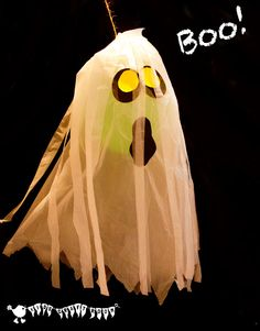 BOO! Easy Spooky Ghost craft - floating decorations for Halloween. Fun to make and play with.