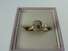 Gold Pre Loved 9ct Solid Yellow Gold 2 In 1 13Diamond Ring 3.9grm | eBay