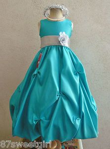 Gasp!! teal flower girl dresses silver - Google Search