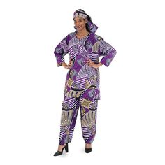 "African Print Pant Set: Purple Cover yourself in beautiful African fabric with this pant set. Top fits up to a 56"" bust and 36"" length. Draw string pants fits up to 46"" waist, 56"" hips and is 42"" long with 30"" inseam. Comes with head scarf. 55% cotton/ 45% viscose. Made in India. Hand wash cold water. Gentle cycle dry."