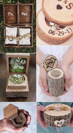 Caixas românticas de madeira do anel para idéias rústicas do casamento