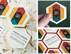 creative shape + great colors for business cards