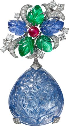 """""""Sambhal"""" Brooch - platinum, one carved pear-shaped sapphire from Burma, carved sapphires and emeralds, cabochon-cut ruby, brilliant-cut diamonds. Bijoux Art Deco, Art Deco Jewelry, High Jewelry, Modern Jewelry, Luxury Jewelry, Jewelry Design, Gems Jewelry, Gemstone Jewelry, Diamond Pendant Necklace"""