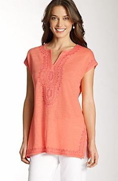 linen-knit embroidered tunic
