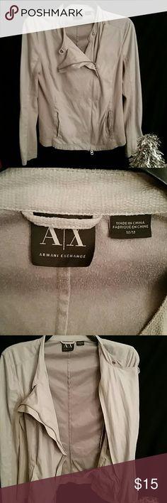 "Armani  Exchange light gray zippered jacket Med Medium lightweight full zip jacket armpit to armpit 16"" Shoulder to hem 23"" polyester /cotton /spandex Armani Exchange Jackets & Coats Utility Jackets"
