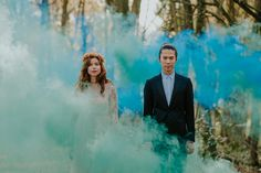 wedding photography - smoke bomb photography - forest wedding london