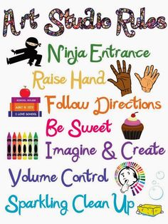 For Elementary Art: Rules that are simple with picture illustrations. Art Classroom Decor, Art Classroom Management, Classroom Signs, Music Classroom, Art Classroom Posters, Classroom Ideas, Classroom Pictures, Classroom Organization, Art Class Rules