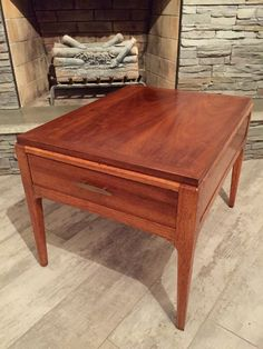 lane rhythm mid century modern side or end table with drawer