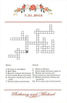 NEW Wedding Crossword Puzzle - Love Birds - Perfect for weddings ...