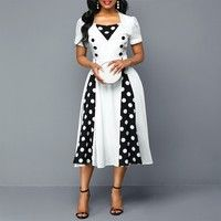 Plus Size Women Rockabilly Polka Dot Print Short Sleeve Button Detail Dress Women's Fashion Dresses, Casual Dresses, Dresses Dresses, Polyvore Dress, African Print Fashion, African Attire, Colorblock Dress, Polka Dot Print, Dot Dress