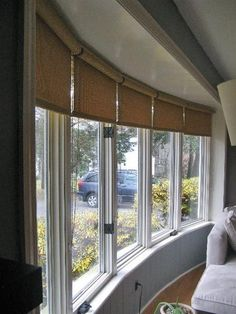 Window Covering Ideas for a Large Bow Window? window ideas Window Covering Ideas for a Large Bow Window? Bow Window Treatments, Large Window Coverings, Blinds For Large Windows, Window Treatments Living Room, Windows And Doors, Bow Windows, Casement Windows, Bay Window Living Room, Living Room Blinds