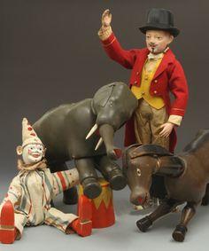 Schoenhut Collectors Club Metal Toys, Tin Toys, Vintage Circus, Vintage Toys, Doll Toys, Children's Toys, Circus Art, Wooden Dolls, Antique Toys