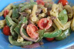 Pesto, cherry tomato, onion and peppers pasta
