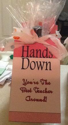 Teacher appreciation- Hand soap and a cute note Simple Gifts, Easy Gifts, Cute Gifts, Cute Notes, Teacher Appreciation, Kid Stuff, Soap, Gift Ideas, School