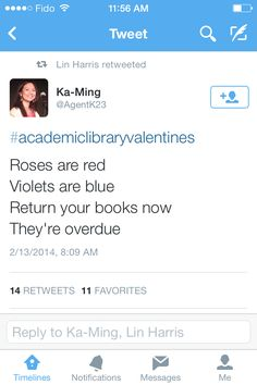 "Poem to add ""Valentines"" to overdue lists display"