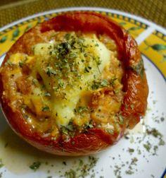By Tania Martyns : Receitas leves e saborosas - Tomate recheado e cookie integral