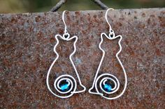 Surgical wire cute cat earrings for cat lovers by HorakovaDesigns, $24.00