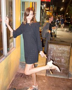 So long chips with curry sauce. Peace out sorrow-drowning, spirit-lifting watering hole. Alex Chung, Marry Jane, Alexa Chung Style, Curry Sauce, Mary Jane Shoes, Style Icons, High Neck Dress, Street Style, Shirt Dress