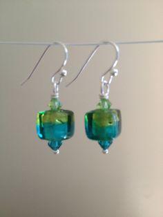 Green Blue Dichroic Glass Earrings  drop earring by besboutique
