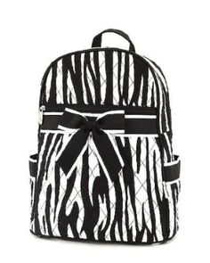 Belvah Medium Quilted Zebra Print Backpack Purse - Choice of Colors.  $24.95            This backpack looks simple, yet is very cute and functional. The design is suited for females of any age. This bag features two open & a zippered interior pockets and 2 handy side pockets. In addition, it has a front zippered pocket. These pockets are pretty handy. You can...