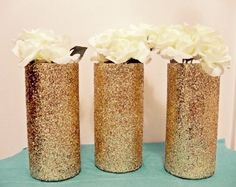 #gold glitter vases, gold vases, gold wedding decorations, gold centerpieces less than $5 each! http://www.bliss-bridal-weddings.com/#!product/prd3/3654461561/12-pack-glitter-of-vases