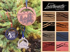NEW Leather Ornaments! Any shape, engraved or color printed with your design. We have 8 different leatherette color options to choose from. Old Lights, Fort Collins, Custom Leather, Your Design, Holiday Gifts, Black Gold, Colorado, Favors, How To Memorize Things