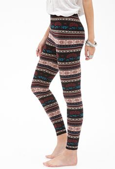 Floral Stripe Leggings | Forever 21 - 2000085586