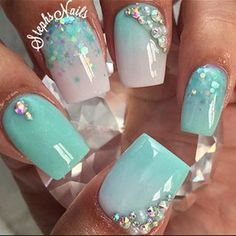 Opting for bright colours or intricate nail art isn't a must anymore. This year, nude nail designs are becoming a trend. Here are some nude nail designs. Acrylic Nail Designs, Nail Art Designs, Mint Nail Designs, Nail Crystal Designs, Turquoise Nail Designs, Nails Design, Cute Nails, Pretty Nails, Gold Nails